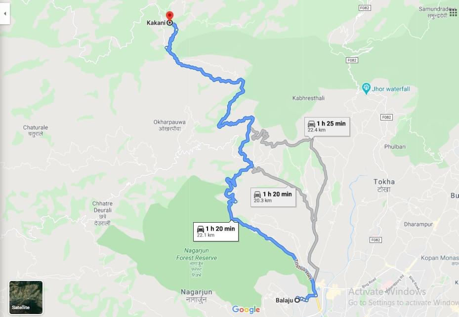 Kathmandu to Kakani Google Map