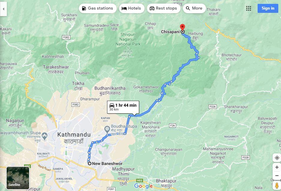Kathmandu to Chisapani Route