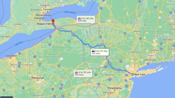 New York to Niagara Falls Distance