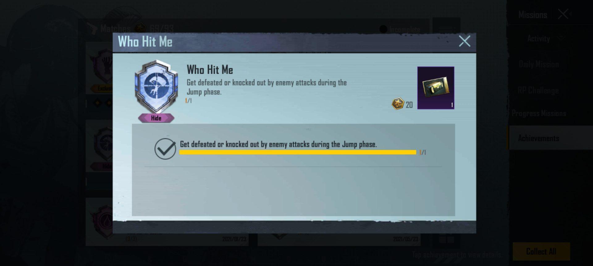 Who Hit Me? Achievement